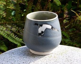 Gray Crane Tea Bowls