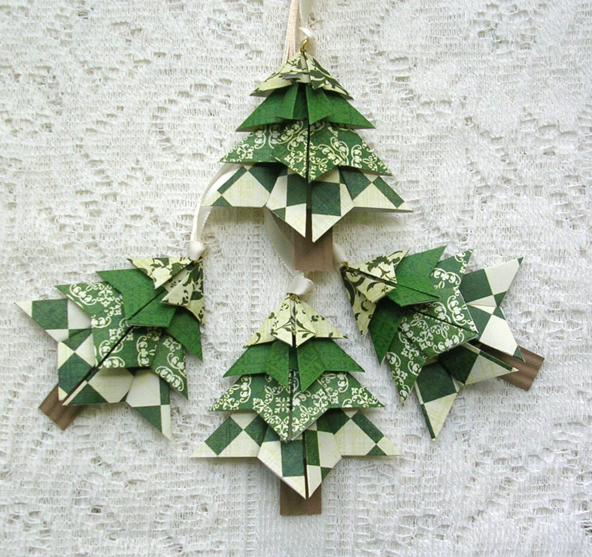 Origami Trees Christmas Tags Origami Christmas Ornaments