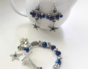 Dallas Cowboys Cross Charm Bracelet and Chandelier Earrings