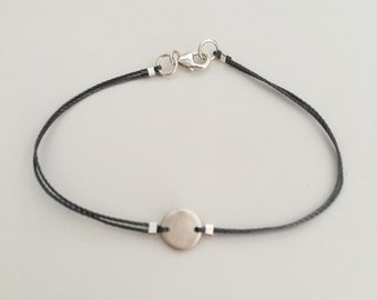 Tiny circle link bracelet, fine silver, PMC, sterling findings, grey nylon cord