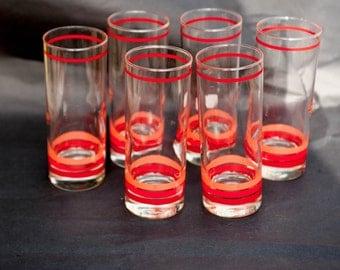 Retro Highball Glasses Set of Six