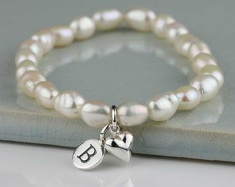 Freshwater Pearl Bracelet with Solid Silver or Gold Petite Heart Charm Personalised with a Solid Silver Stamped Initial Charm