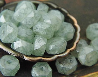 Stone Green, Rondelle Beads, Czech Beads, Beads