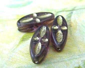 Golden Plum Pedals, Czech Beads, Leaf Beads, N1666