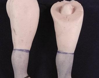 "antique german porcelain , doll legs,dollhouse,doll, damaged, 3.06"""