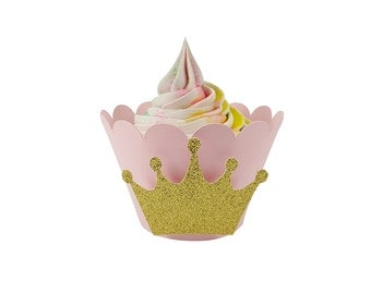 Pink and gold birthday party cupcake wrappers, princess cupcake wrappers, pink and gold party decor, first birthday party, PC001