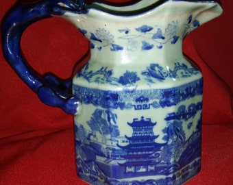 Vintage Signed Victoria Ware Ironstone Transfer Pitcher