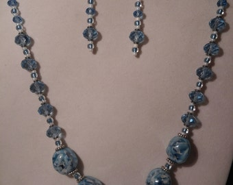 Blue and White Porcelain Necklace and Earring Set