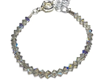 Bracelet with Swarovski bicones ice grey