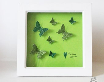 Butterfly Fly Away With Me Flutter Picture Frame Green 7x7""