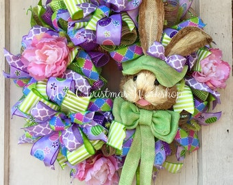 Easter wreath Deco mesh wreath Easter burlap wreath bunny wreath peony wreath