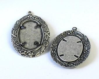 2pcs--Vintage Pendant Setting, Antique Silver, 22.5x30mm (B43-22)