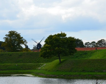 Instant Download Printable Photography Digital Photo Download Windmill Photograph Green Photograph Rural Landscape Photo Europe Photo
