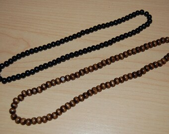 "2 x NECKLACES,Black, Brown Wood 8mm Beads, 20"" Elastic Fit All,Man's Pray, Spirituality, Chocker, Surfer ,Meditation, Yoga, Boho,Stretch"
