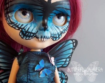 Butterfly CALAVERA - Custom OOAK Blythe doll - including outfit and stand - by Blythe Fairy Tales
