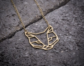 Cat necklace, cat lover gift, Geometric necklace, gold cat necklace, animal necklace, cat pendant, cat jewelry, silver cat necklace