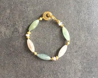 SABRINA: Morganite, Beryl, Golddust, Gold plated bracelet