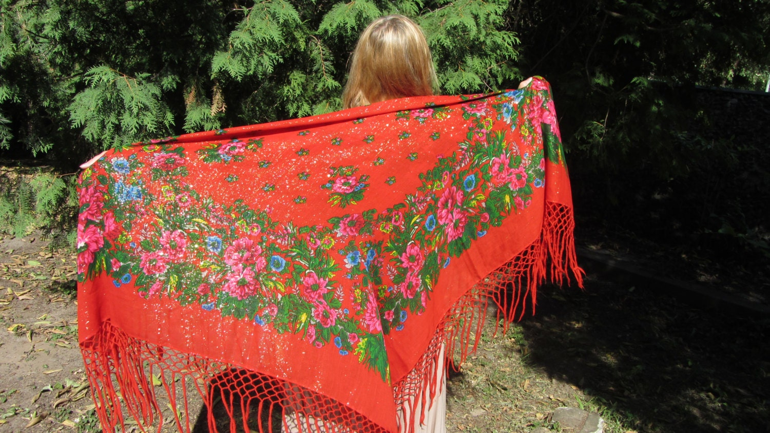 Japan Vintage Red Shawl With Fringes, Asian Floral Red Scarf, Asian style shawl,