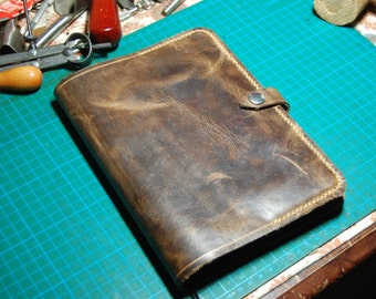 Handmade 100% oiled  Bull Hide Leather A5 Journal Cover -Antique Style Leather Diary Cover