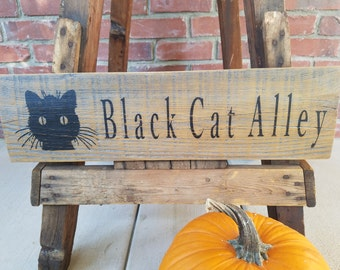 Cat Wood Sign. Cat decor, halloween cat decor, rustic street sign, black cat sign, fall decor, cat sign, alley cat, black cat wood sign, cat
