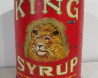 Vintage King Syrup Tin With Paper Label And Baby's Head