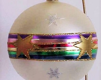Christmas Ornament vintage. Banner with gold stars