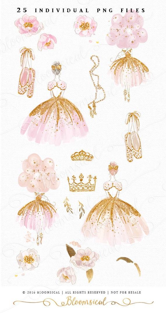 Princess Ballet Clip Art Hand Drawn Ballerina Girl