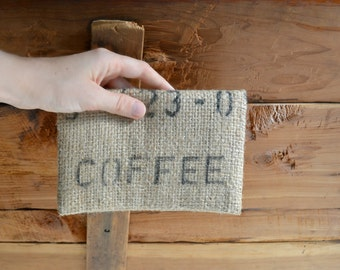 Burlap Clutch Coffee Sack Rustic Wallet Coffee Lover Gift for Her Eco Chic