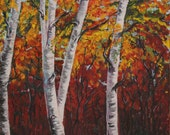 Acrylic Painting Canvas Art  Forest Birch Autumn Yellow Autumn Orange Forest Painting Acrylic Wall Decorations Forest Drawing