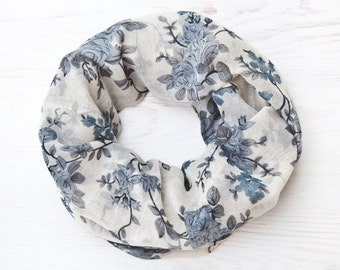 Summer Outdoors, Floral Bohemian Scarf, Cute Summer Scarf, Blue Infinity Scarf, Womens Scarves, Summer party Valentine's Day Gift Boho Scarf