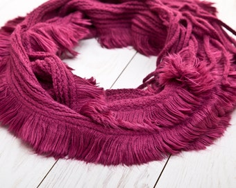 Burgundy Scarf, Wine Large scarf, Crochet Scarf, valentines gift, Womens Accessories (004)