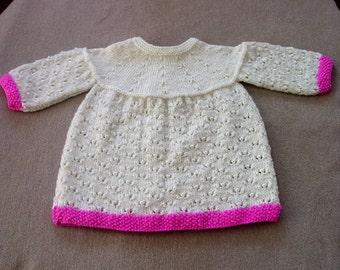 Silk Cashmere Baby Dress, Baby Dress, Cream Baby Dress, Hand Knitted Baby Dress, Handmade Baby Dress, 3-6 Month Baby Dress, Knit Baby Dress