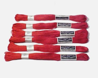 Red embroidery floss Coats & Clark's Embroidery Thread  No. 100 6 skeins