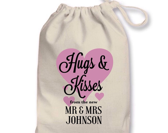 Personalised favour pouches, keepsake bag, any wording & colour. Tote bag.