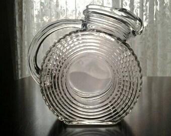 Vintage Ribbed Glass Juice Pitcher