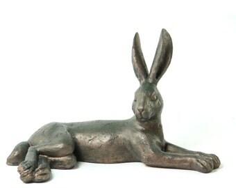Lying Verdigris Hare Sculpture - 7VH116