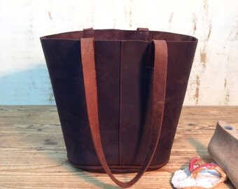 Sale!!! Dark brown leather tote bag  Leather tote in Dark brown sturdy leather Shopper bag Bucket bag Handmade with LOVE!