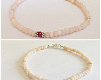 Natural Pink Peru Opal and Ruby Bracelet . Sterling silver