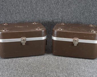 "Vintage Pair Of Regal Plastic Co. Storage Boxes 7 1/4"" X 9 1/2"" X13"" Brown 1985"