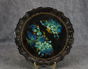 """Vintage Hand-Painted 14"""" Round Serving Tray"""