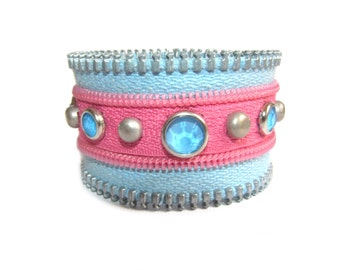 Pink and Light Blue Bracelet with Recycled Zipper, Zipper Cuff Bracelet, Funky Zipper Bracelet, Ecofriendly Bracelet, Special Gift