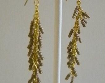 Long Gold Tone Shimmering Brown Seed Beaded Pierced Earrings
