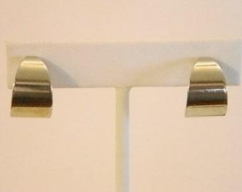 Silver Tone Wide Fat Hoop Clip Earrings