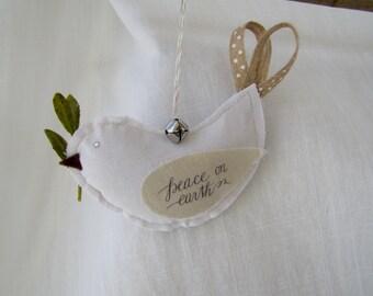 Peace on Earth Dove Fabric Ornament