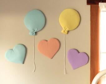 Individual hearts and balloon wall hangings