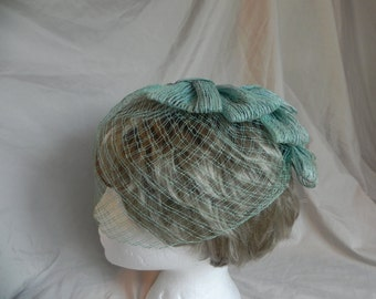 Rare Vintage Dress Hat with Blue Green Bows and Veil 1940's