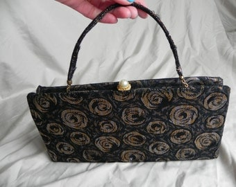 1950's Lovely Black Silver and Gold Brocade Clutch Purse Handbag with Handle by Ande'