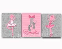 Pink grey ballerina decor music nursery wall art baby girl name poster kids room artwork bedroom decoration toddler print shower gift