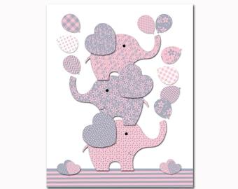 Elephant nursery decor pink grey nursery wall art for baby girl room decor playroom decor nursery artwork kids room decor children room art