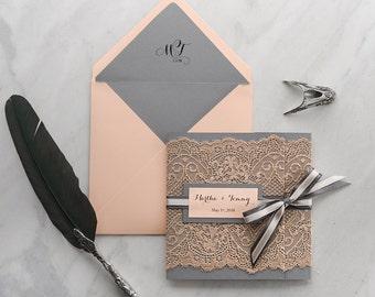 Grey Wedding Invitation Suite (20), Wedding Invitations Peach, Vintage Wedding Invitations, Grey Peach Wedding Invites, Lace Wedding Invites